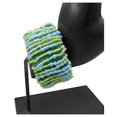 Beaded Green Leather Bracelet with Large Silver Plated Box Clasp