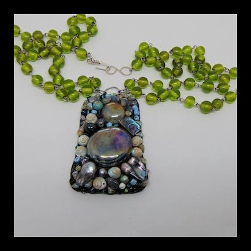 Mixed Media Pendant on Vintage Green Glass Beads Necklace