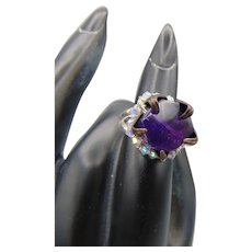 Sterling Silver Ring with Amethyst Set in Blackened Brass and Swarovski Crystals
