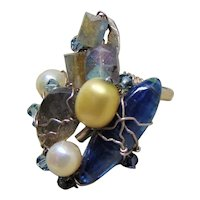 Sculpted Sterling Silver Wire Wrapped Labradorite and Kyanite Ring