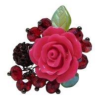Pink Rose Bejeweled Adjustable Ring