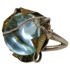 Crystal Blue Glass set in Embossed Brass on Sterling Silver Ring