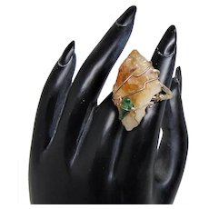Raw Citrine, Hematite and Green Coral Sterling Silver Ring