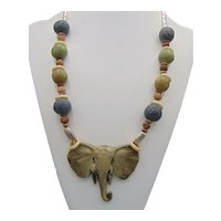 Resin Elephant Head Pendant and Ceramic Big Beads on Leather Necklace