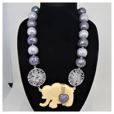 Mixed Metals Big Bead and Faux Ivory Elephant Necklace
