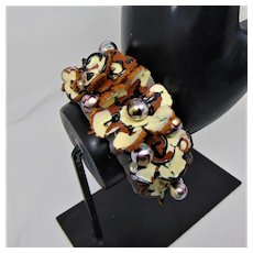 Hand Painted Leather on Stainless Steel Spring Cuff Bracelet