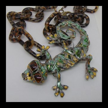 Lizard on a Chain Necklace