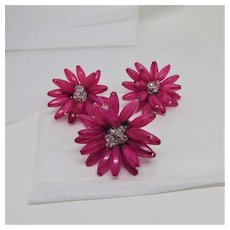 Big Pink Flower Clip Earrings and Ring Set