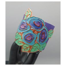Hand Painted Copper on Leather Cuff Bracelet