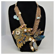 Mixed Media Fish Bejeweled on Chain Net Necklace