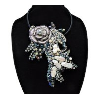 Mixed Media Large Bejeweled Fish Necklace