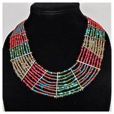 Vintage Collar Style Necklace of Brass and Glass Beads