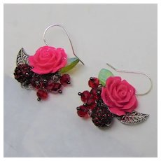 Pink Roses and Swarovski Crystals Earrings on Sterling Silver Ear Wires