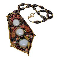 Hand Crafted Mixed Media Pendant on Millefiori Glass Bead Necklace
