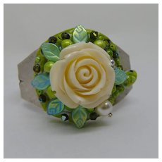 Large White Rose Apoxie Clay and Glass on Steel Cuff Bracelet