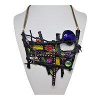 Sculpted Thermoplatic on Brass Bib Style Necklace