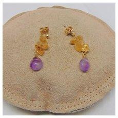 Citrine and Amethyst Dangle Post Earrings
