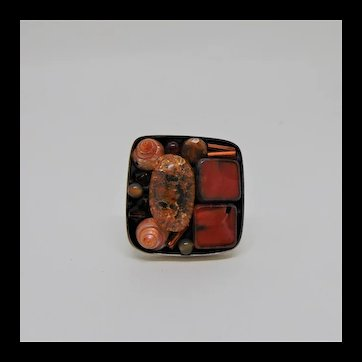 Czech Glass n Shells on Sterling Silver Adjustable Ring