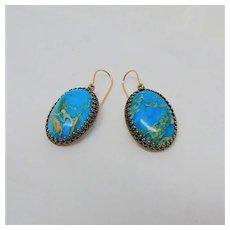 Beautiful Blue Magnesite Dangle Earrings on 14KGF Ear Wires