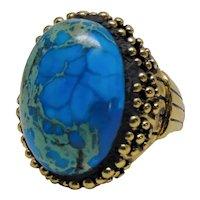 Large Blue Magnesite Adjustable Ring