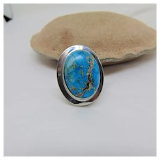 Magnesite Cabochon in Rhodium Plated Steel Ring