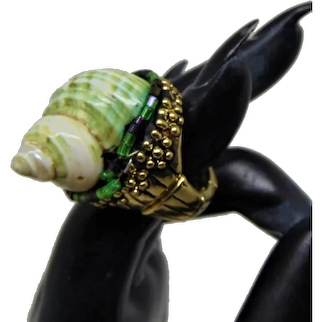 Sea Snail Shell n Glass Beads on Brass Plated Pewter Ring
