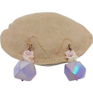 Iridescent Shell and Shells on Copper Earrings w 14KGF Ear Wires