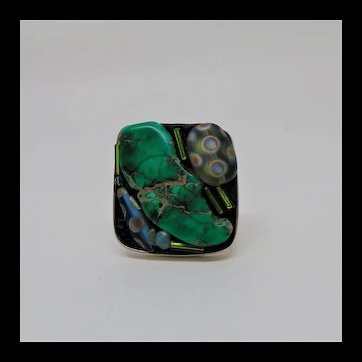 Glass n Stone Sterling Silver Adjustable Ring