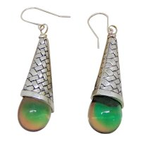 Pewter Cones with Vintage Glass Drops on Sterling Silver Earrings