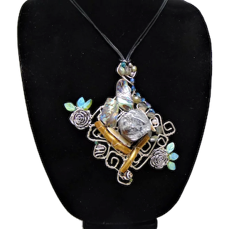 Large Sculpted Sterling Silver Pendant on Leather Necklace