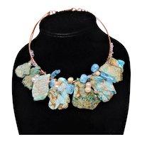 Sculpted Copper Bib Choker w Cultured Freshwater Pearls, Quartz, Czech Glass and Imperial Jasper