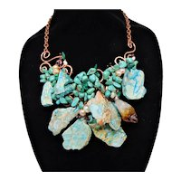 Bib Necklace of Turquoise, Cultured Freshwater Pearls, Malachite, Jasper and Garnets on Copper