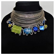 Multiple Wire Choker with Sterling Silver Wire Wrapped Gems