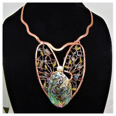 Sculpted Jeweler's Copper Bib w Abalone n CFWP, Labradorite, Aquamarine, Peridot and Garnet