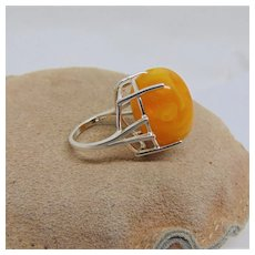 Sterling Silver Ring with Vintage Lucite Bead