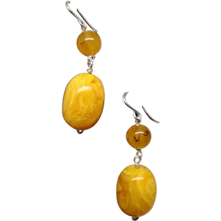 Faux Amber Beads on Sterling Silver Ear Wires