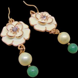 Enameled Flower w Rhinestone Center Earrings with Jade on 14KGF Ear Wires