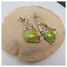 Sculpted Earrings of Aluminum and Brass w Glass Cabs and Swarovski Crystal Pearls