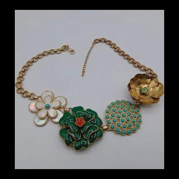 Vintage Stella N Dot Enameled Flower Necklace