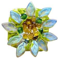 Czech Glass Sunflower Adjustable Sterling Silver Ring