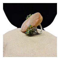 Sterling Silver Ring set with Nacre in Acrylic n Swarovski Crystals