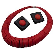Red n Black Wooden Necklace and Earring Set