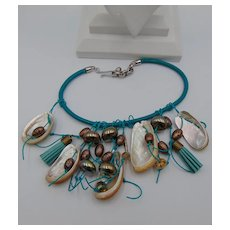 Turquoise Dyed Leather Bib w Abalone Necklace
