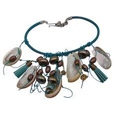 Turquoise Dyed Leather Bib w Abalone Necklace