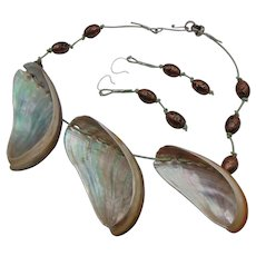 Abalone on Leather w Czech Art Glass Beads Necklace and Earring Set