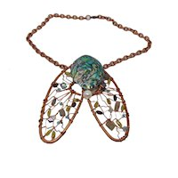 "Abstract Bejeweled Sculpted Copper ""Cicada"" Bib Choker"
