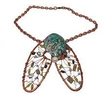 """Abstract Bejeweled Sculpted Copper """"Cicada"""" Bib Choker"""