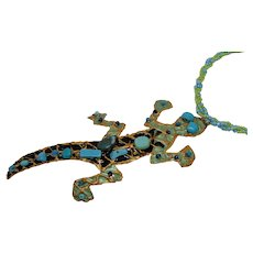 Mixed Media Lizard on Beaded Necklace