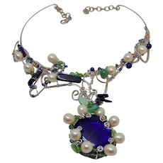 Sculpted Sterling Silver w Lapis Lazuli n Cultured Freshwater Pearls