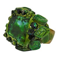 Mixed Media Ring in Greens